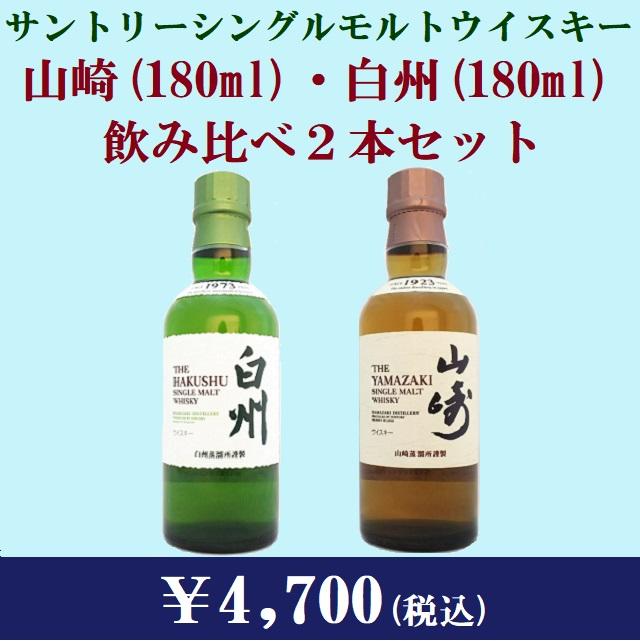 山崎(180ml) & 白州(180ml) 飲み比べ2本セット